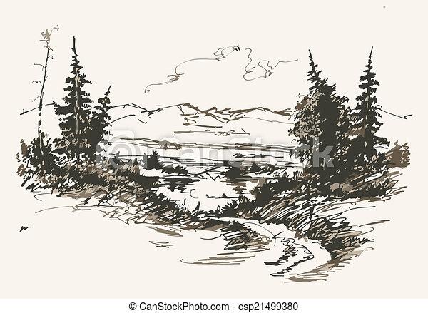 Camino en montañas - csp21499380