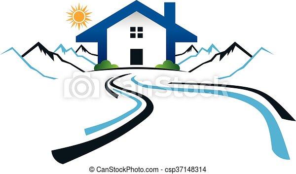 Casa en las montañas con logo de carretera. Diseño gráfico Vector - csp37148314