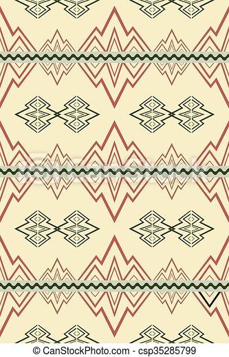 Patrón sin costura con símbolos abstractos de montañas y ríos - csp35285799