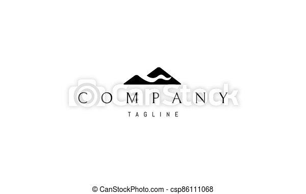 montañas, vector, logotipo, rivers., imagen, resumen - csp86111068