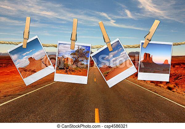 Montaje conceptivo representando viajes de vacaciones con fotos polaroid del desierto de Moument Valley colgando de una cuerda - csp4586321