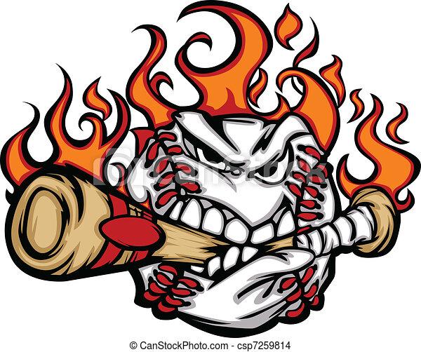 Béisbol en llamas mordiendo murciélago - csp7259814