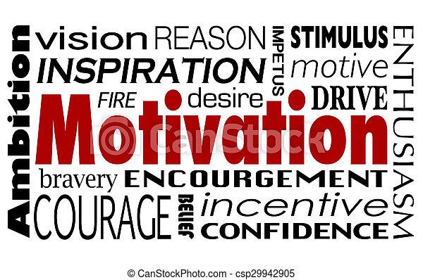 Motivación palabra collage inspiración motivación impulsa ambición - csp29942905