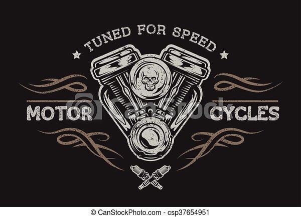 Motor de motocicleta en estilo clásico. - csp37654951