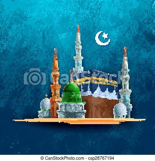 Eid Mubarak con Kaaba - csp28767194