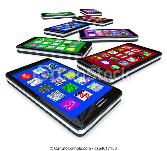 Muchos teléfonos inteligentes con electroshock - csp4617158