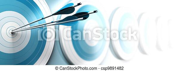 Muchos blancos azules y tres flechas alcanzan el centro de la primera, la imagen se desvanece de azul a blanco con efecto borroso, formato horizontal dedicado a una bandera. marketing estratégico o comunicaciones de negocios - csp9891482