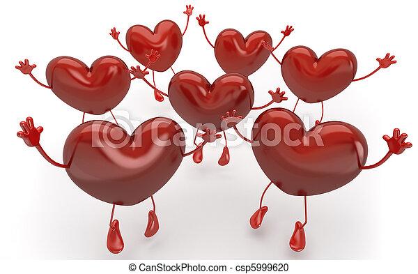 Muchos corazones saltan y gritan para ser elegidos entre ellos, esta imagen contiene un camino de separación exacta del fondo si es necesario reemplazar o cambiar de color - csp5999620