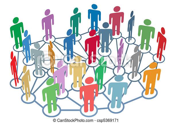 Muchos grupos hablan de medios sociales de la red - csp5369171