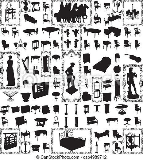 Muebles antiguos, cien vectores - csp4989712