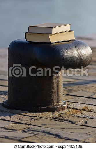 Libro en el muelle - csp34403139