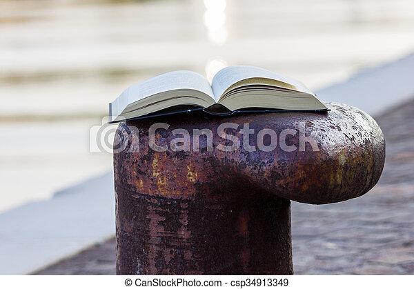 Libro en el muelle - csp34913349