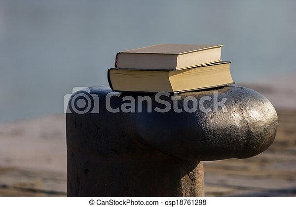 Libro en el muelle - csp18761298