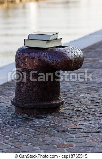 Libro en el muelle - csp18765515