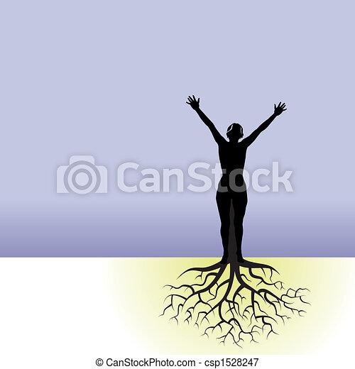 Mujer con raíces de árbol - csp1528247