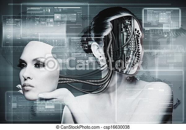 Mujer biomecánica, antecedentes futuristas abstractos para tu diseño - csp16630038