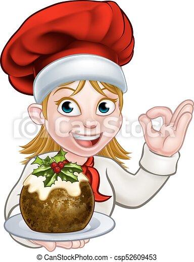 Mujer chef con sombrero de Navidad sosteniendo pudín - csp52609453
