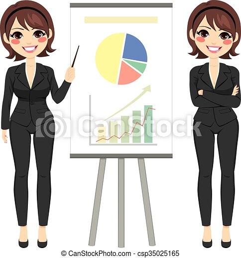 Mujer de negocios con historial - csp35025165