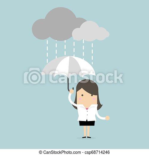 Mujer de negocios bajo un paraguas bajo la lluvia. - csp68714246