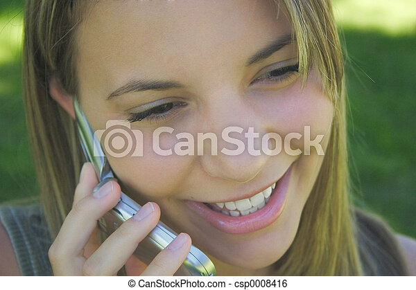 Mujer de teléfono - csp0008416