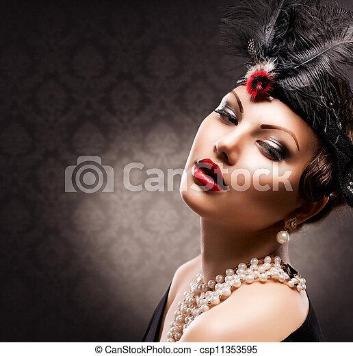 Retro retrato de mujer. Una chica con estilo - csp11353595