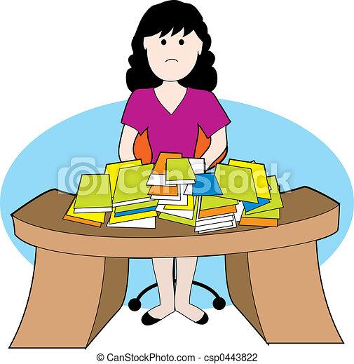 Mujer en un escritorio sucio - csp0443822