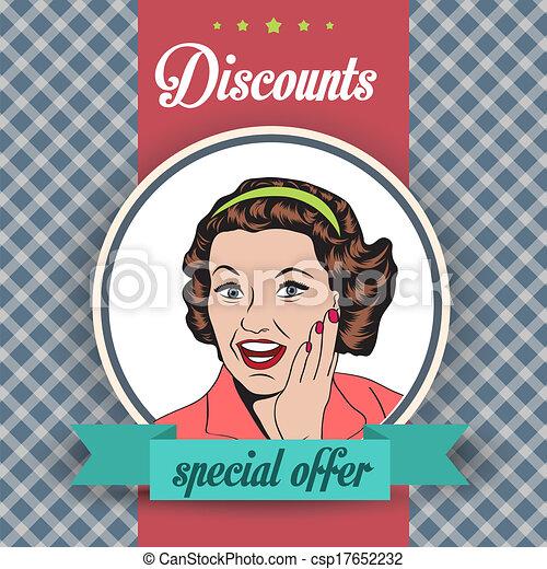 Mujer feliz, ilustración retro clipart comercial - csp17652232
