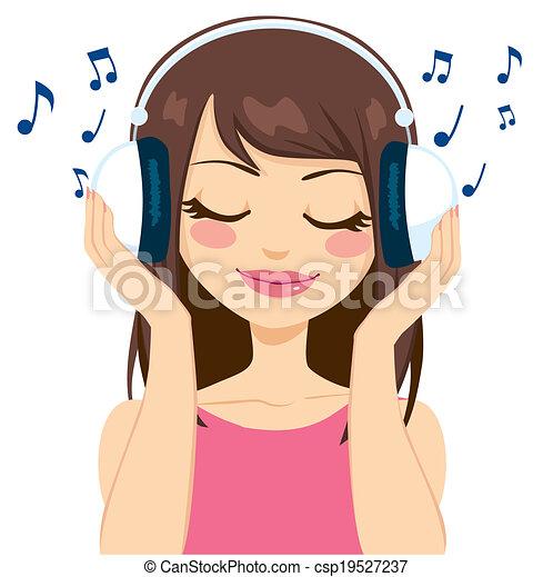 Mujer escuchando música - csp19527237