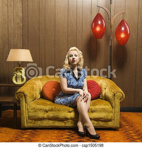 Retro retrato de mujer. - csp1505198