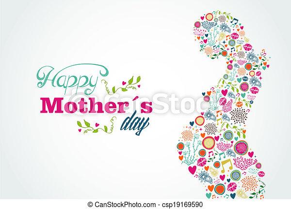 Silueta de madres felices ilustración de mujeres embarazadas - csp19169590