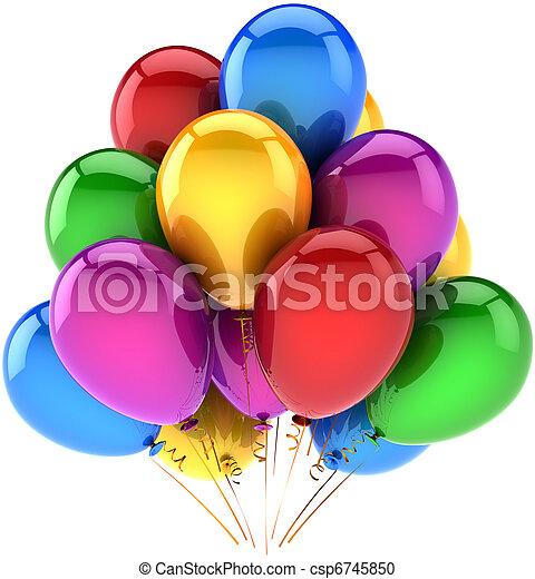 Feliz cumpleaños globos multicolor - csp6745850