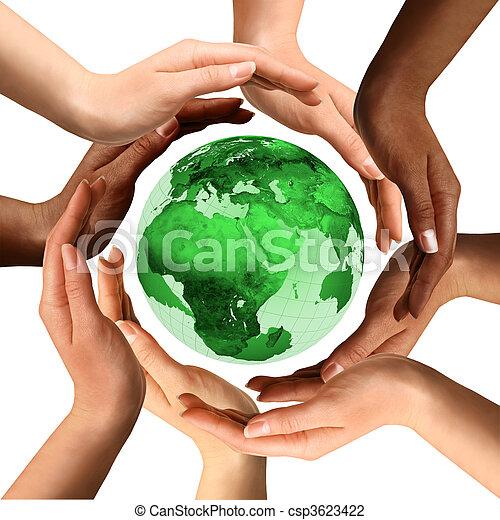 Manos multirraciales alrededor del mundo - csp3623422