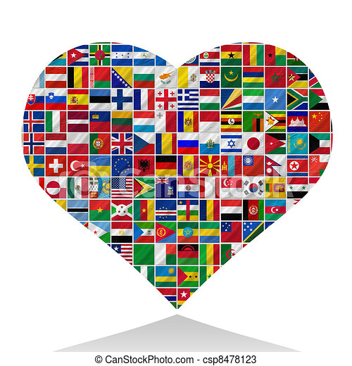 Banderas con corazón - csp8478123