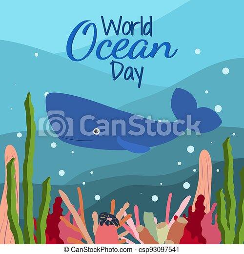 mundo, lindo, plano de fondo, corals., océano, esperma, azul, alga, estilo, ballena, caricatura, día - csp93097541