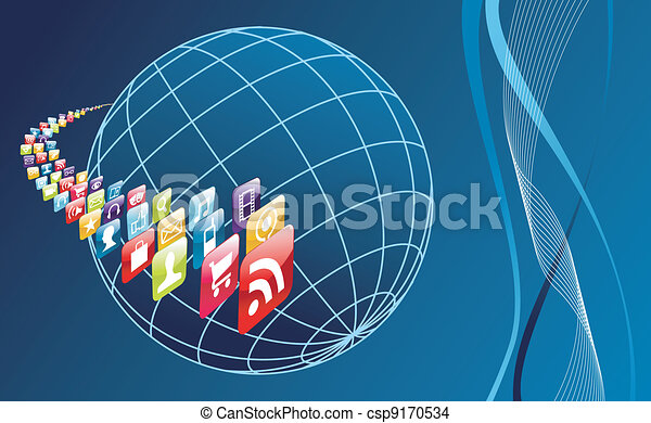 El teléfono móvil global da imagenes de iconos alrededor del mundo - csp9170534