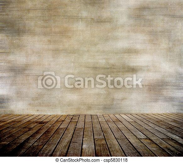 Muralla grunge y suelo de madera - csp5830118