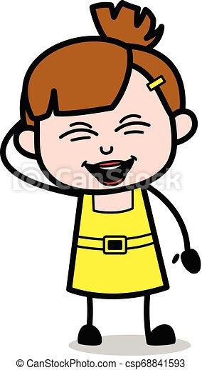 Muy gracioso, chica linda dibujo animado ilustración vectorial del personaje - csp68841593