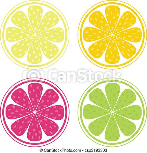 Vector de frutas Citrus, limón, lima y naranja - csp3193303