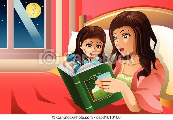 Madre contando un cuento para dormir - csp31610108