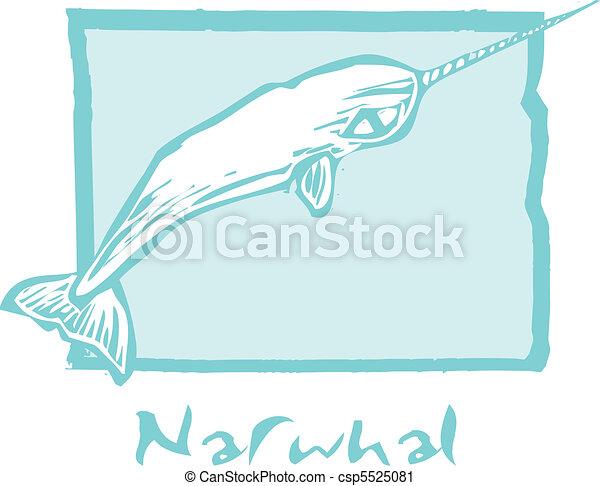 Narwhal en azul - csp5525081