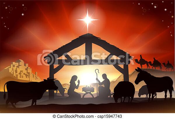 Escena de natividad navideña - csp15947743