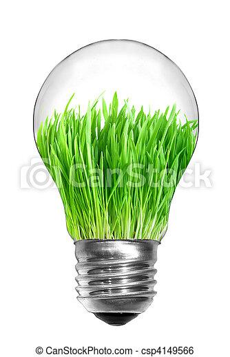 Una bombilla de luz con hierba verde dentro aislada en blanco - csp4149566