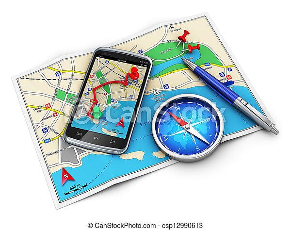Navegación GPS, viajes y turismo cocnept - csp12990613