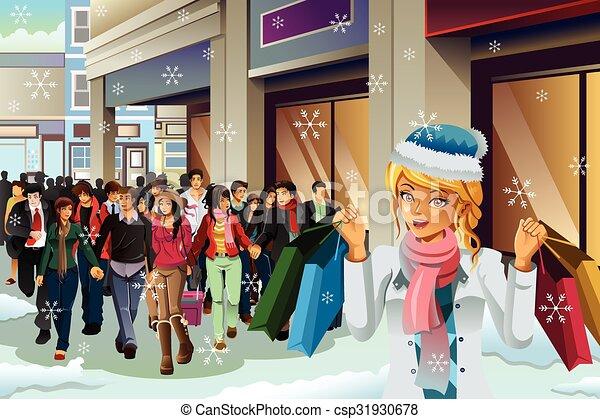 Gente comprando para Navidad - csp31930678
