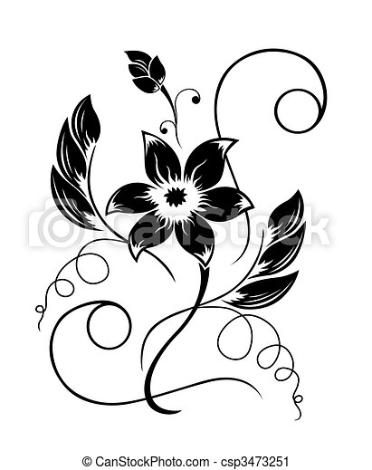 Flor negra, un patrón blanco - csp3473251
