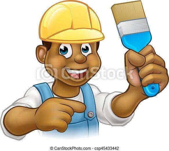 Pintor negro decorador con pincel - csp45433442