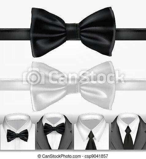 Una corbata blanca y negra. Vector - csp9041857