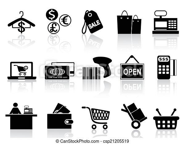 Ventas negras y iconos de compras - csp21205519