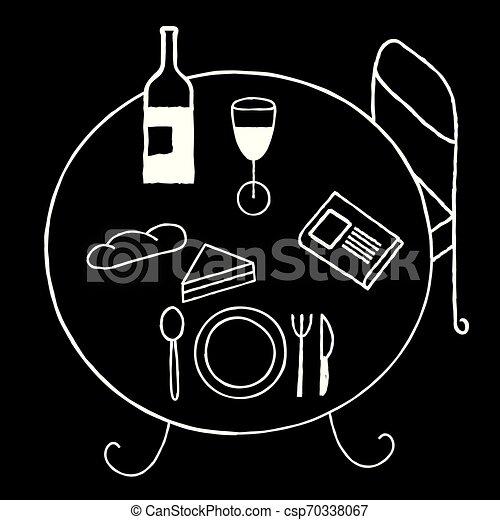 Mesa de desayuno lineal dibujada en blanco y negro. - csp70338067