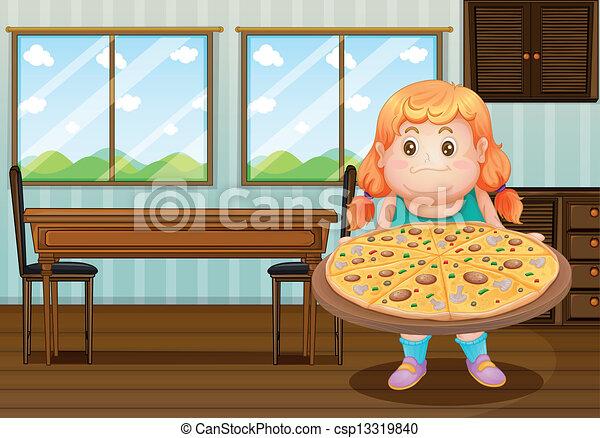 Una gorda sosteniendo un círculo de pizza - csp13319840